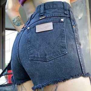 Wrangler high waisted black cutoff jean shorts